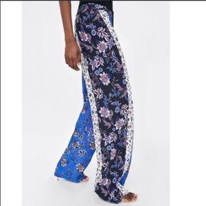 Zara Patch Print Flowy Pants